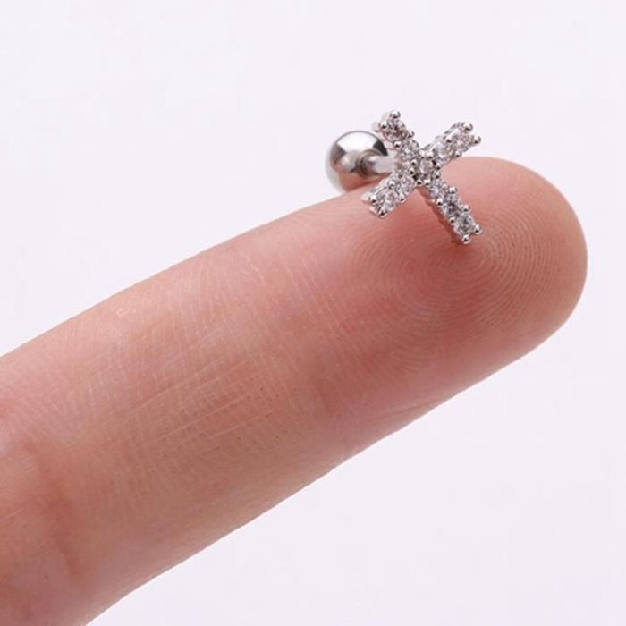 1 pièces oreille Piercing bijoux en acier inoxydable étoiles croix lune Zircon boucles d'oreilles pour les KI7012