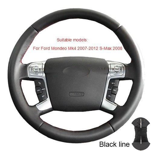 Couvre volant,Couvre volant pour Ford Mondeo Mk4 2007 2012 s max 2008 Ford Focus 3 2015 2018 Kuga 2016 - Type Black thread #B