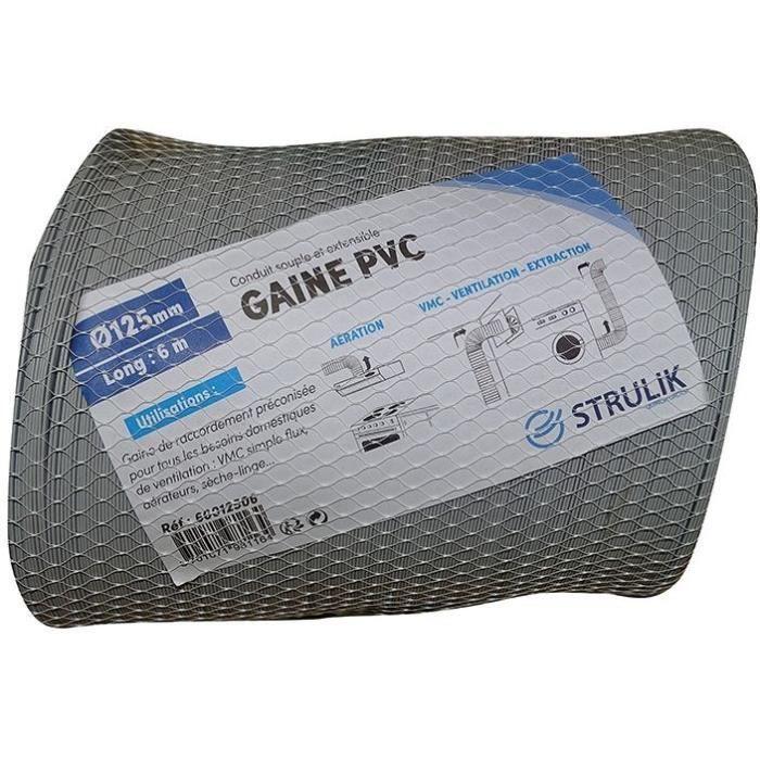 AUTOGYRE - Gaine souple pvc gris d.125mm 6ml filet