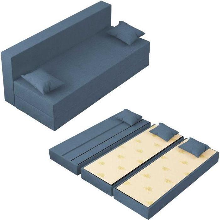 Canapé Lit Tetris Convertible Modulable Réversible 3 places - Tissu dehoussable et lavable Couleur Jeans