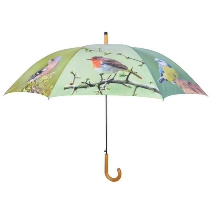 Parapluie oiseaux métal et bois
