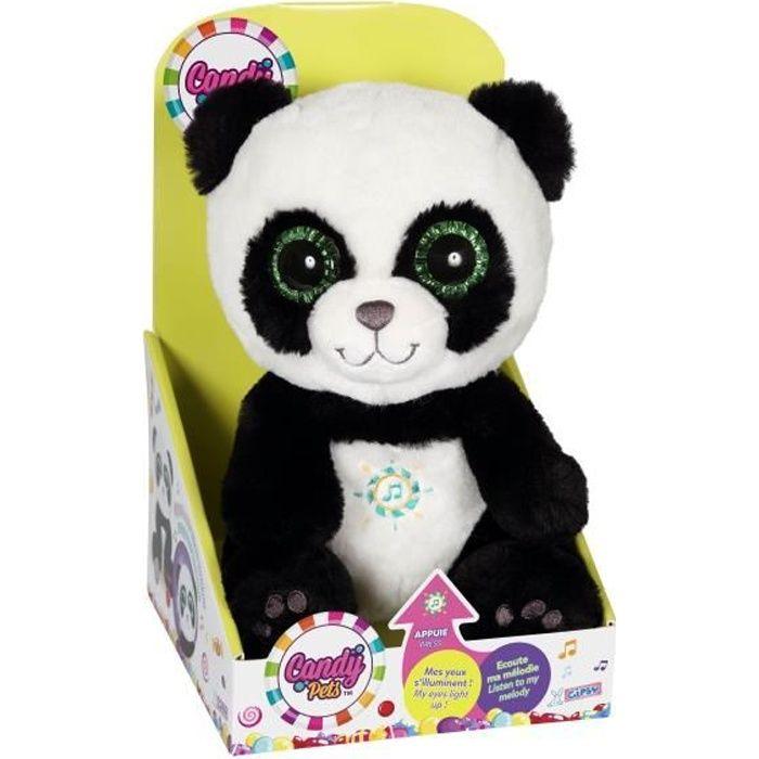 CANDY PETS Peluche Panda lumineux et sonore