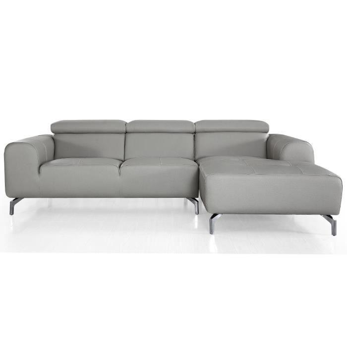 Canapé d'angle droit en cuir ZAKARIA - Gris - Droit - Gris
