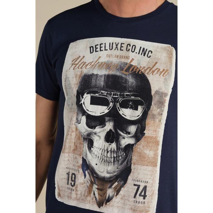 DEELUXE T-shirt dessin tête de mort CLEM Navy