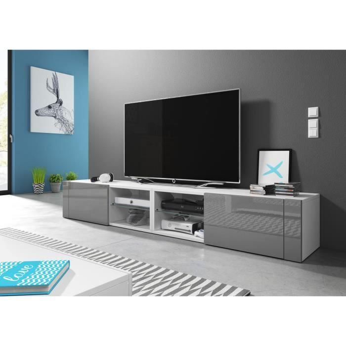 VIVALDI Meuble TV - Hit 2 DOUBLE - 200 cm - blanc mat / gris brillant sans LED - style design