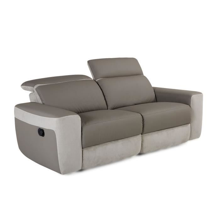 magnum canap 3 places relax manuel imitation cuir taupe et microfibre gris clair taupe. Black Bedroom Furniture Sets. Home Design Ideas