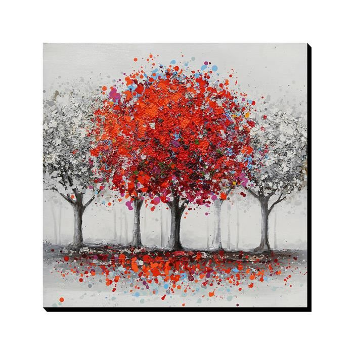 aonbat tableaux de peinture l 39 huile peint la main abstrait rouge arbre decoration maison. Black Bedroom Furniture Sets. Home Design Ideas