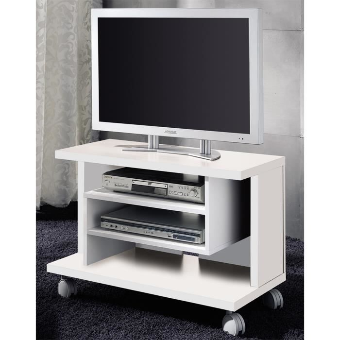 meuble tv coloris blanc en bois 54 5 x 40 x 80 cm achat vente meuble tv meuble tv blanc en. Black Bedroom Furniture Sets. Home Design Ideas