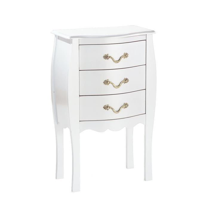 miliboo commode chevet baroque blanc 3 tiro achat. Black Bedroom Furniture Sets. Home Design Ideas