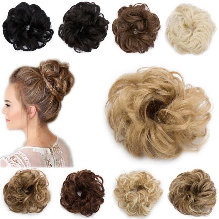 4 Couleurs Femme Fibre Synthétique Cheveux Chignon Donut Anneau Blonde Extension De Cheveux Perruque NEUF