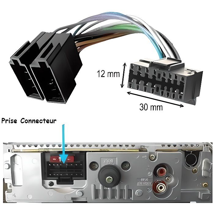 adaptateur iso pour autoradio sony 16 pins qualit achat vente installation autoradio. Black Bedroom Furniture Sets. Home Design Ideas