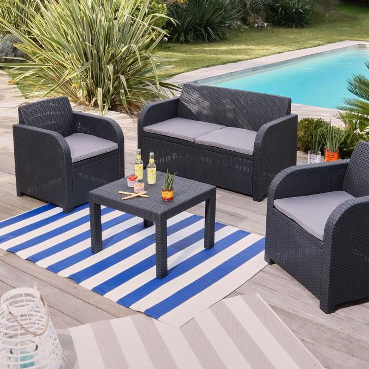 georgia salon de jardin gris anthracite finition rotin tress 4 places achat vente salon. Black Bedroom Furniture Sets. Home Design Ideas