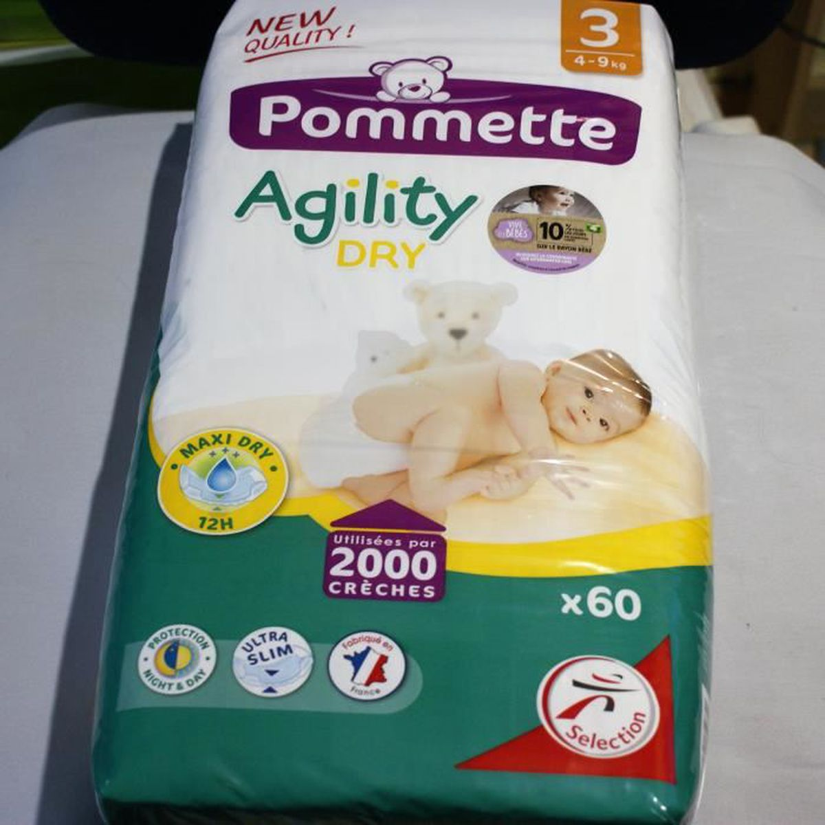 Lot De 60 Couches Agility Dry Pommette N3 New Quality Achat