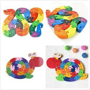PUZZLE s0122 26 pièces en bois Toy serpent Jigsaw Puzzle