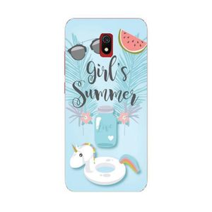 COQUE - BUMPER Coque Redmi 8A Summer licorne girl beach tropical