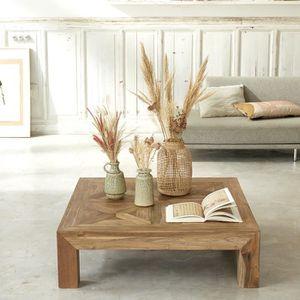 TABLE BASSE Table basse carrée en bois de teck recyclé 80