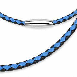 CHAINE DE COU SEULE Chaine de cou en cuir noir et bleu fermeture ovale