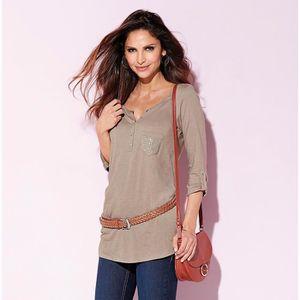 T-SHIRT Tee-shirt long manches 3/4 poche strass femme