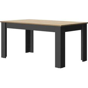TABLE À MANGER SEULE Table de repas à allonge Bois/Noir - VIENNE - L 16