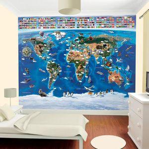 PAPIER PEINT Papier peint enfant carte du monde Walltastic