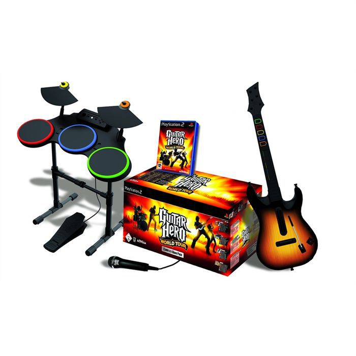JEU PS2 SUPERPACK GUITAR HERO WORLD TOUR (batterie + guita