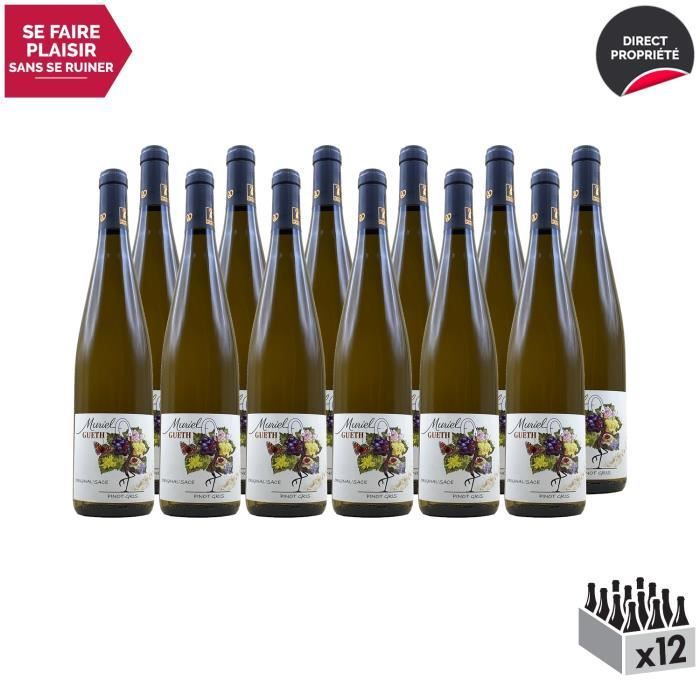 Alsace Original'sace Pinot Gris Blanc 2017 - Lot de 12x75cl - Domaine Gueth - Vin AOC Blanc d' Alsace - Cépage Pinot Gris