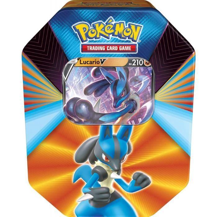 Pokebox Lucario V - 210 PV - Carte Francaise A Collectionner Pokemon - Boite Metal Bleu Puissances-V