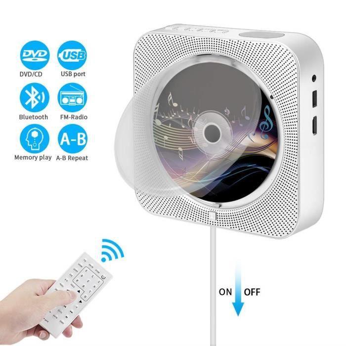 Lecteur CD Portable, Mur Montable Lecteur DVD-CD Bluetooth Mural Bluetooth avec Télécommande Full-HD 1080P Haut-Parleur Hi-FI int