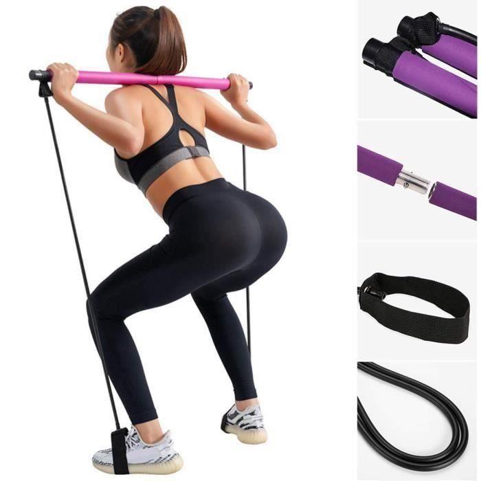 SURENHAP Élastique Bandes de résistance Barre Pilates portable Exercice Pilates Bar avec Foot Loop Body Workout Toning Bar