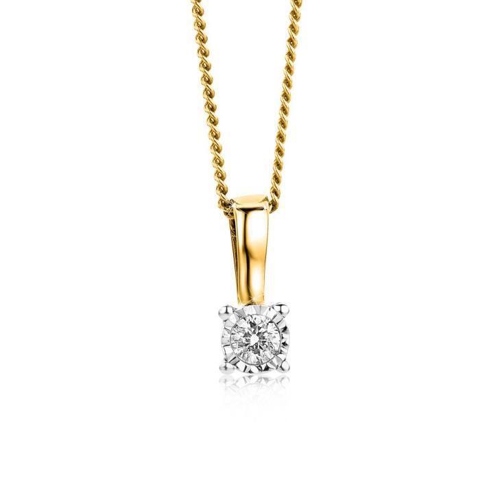 Orovi Bijoux Femme, Collier Solitaire Bicolor, Or Blanc et Or Jaune avec Diamant 0.04 Ct coupé Brillant 9 Kt - 375 Or Chaîne 45 C
