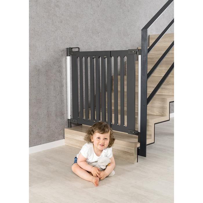 BARRIERE DE SECURITE BEBE reer Grille de porte et d'escalier tendance à visser, design moderne, bois, maintien stable, la152