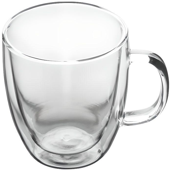 Mug en verre double paroi Isolation claire Tasse à boire résistante à la chaleur pour café au lait expresso (350 ml) Wir86