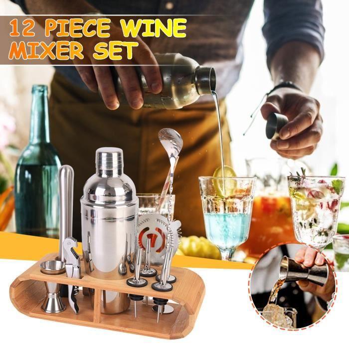 Kit de barman Ensemble de shaker à cocktail 12 pièces Kit d'outils de bar à la maison avec support a10864