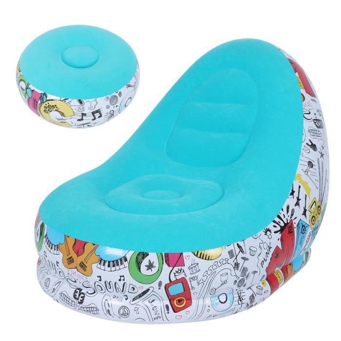 Atyhao Lit gonflable Canapé Gonflable Portable Chaise Longue Confortable avec Tabouret pour Balcon Salon(Bleu 116x98x83cm)