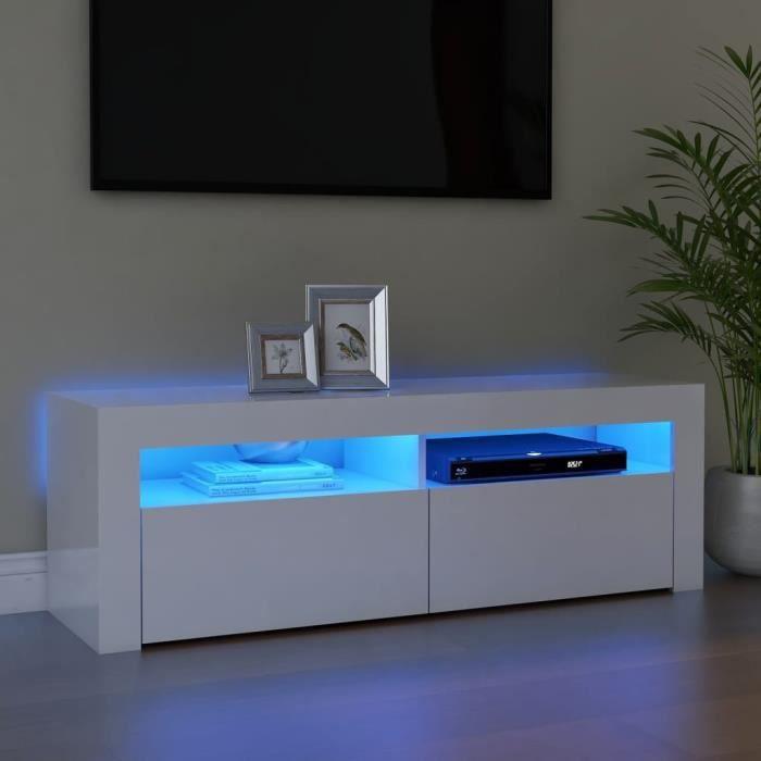 Meuble TV avec lumières LED Blanc brillant 120x35x40 cm PET