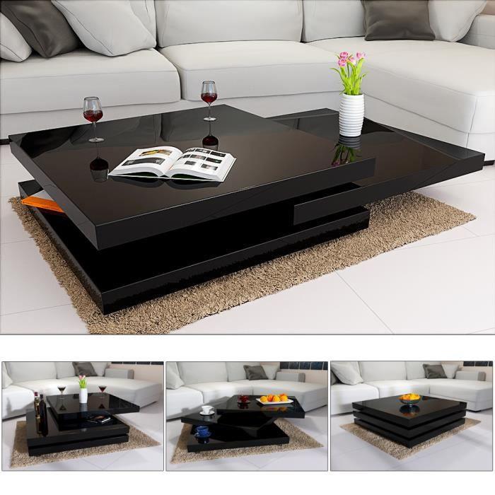 Table Basse de Salon Noir Moderne carré 60x60cm laquée Brillante rotative à 360° Charge Max. 20 kg Design innovant Table intérieur