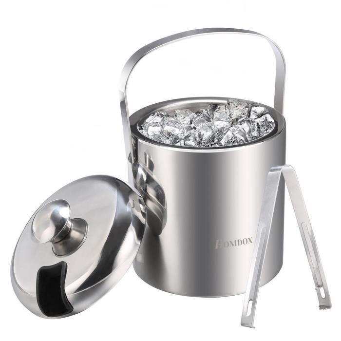 Seau à glace en acier inoxydable pour des glaçons, Seau à glace double paroi isolé avec pinces et couvercle champagne, 1.2L, Argent