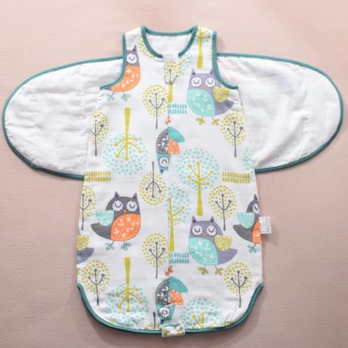 Sommeil bebe housse de pyjama bebe Coton Sac de Gigoteuse couvertures sans manches en coton Été pour bébé Zip Sécurisé -75-Verte