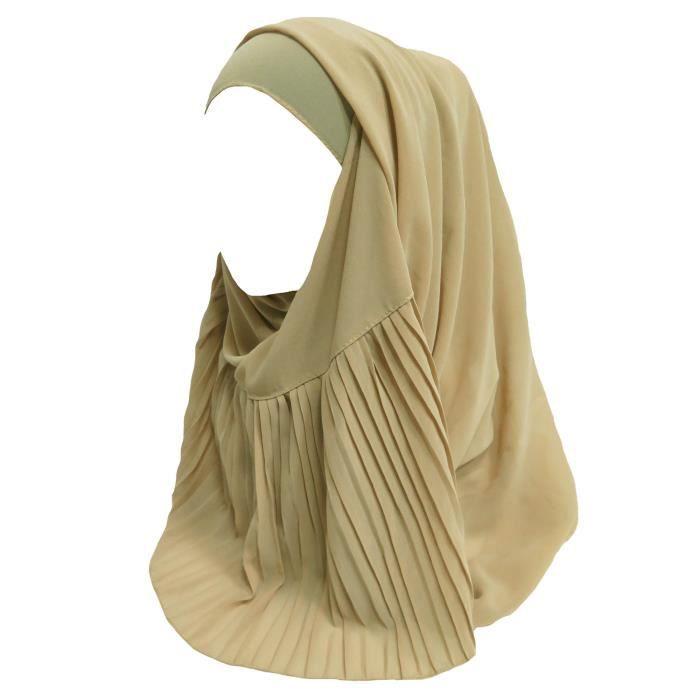 Écharpe Hijab pour Femme Musulmane en Plisser Mousseline de soie-Beige