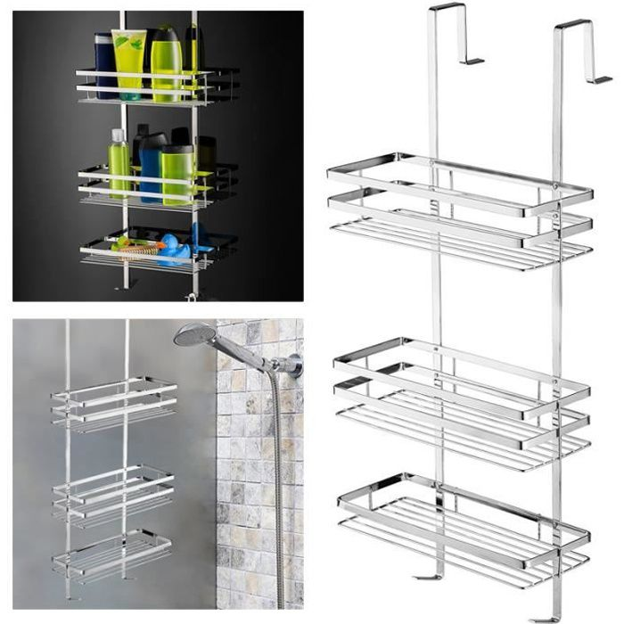 MCTECH Etagère salle de bains Etagère de douche à suspendre avec Panier de douche 3 couches de Installation facile