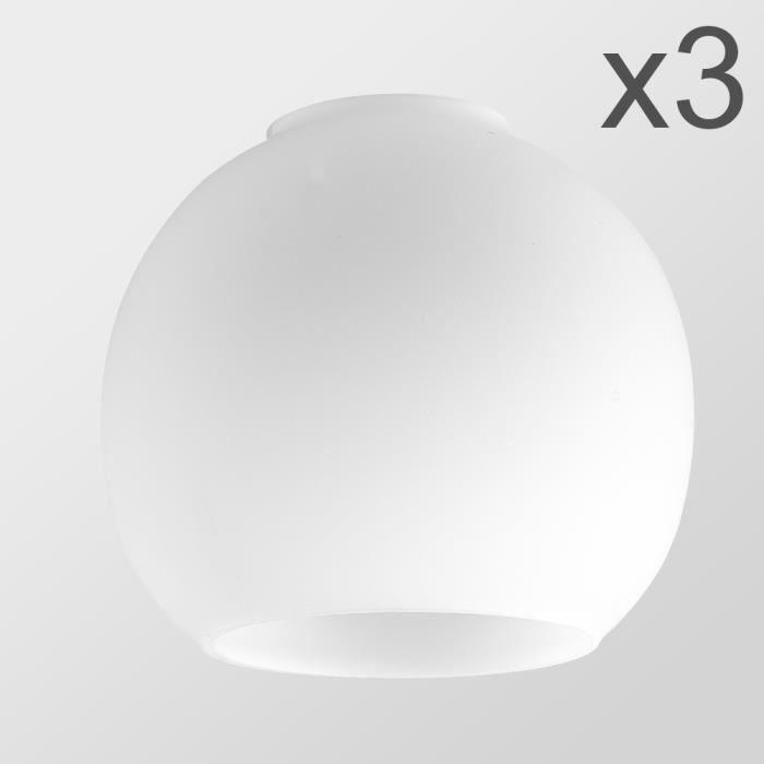 MiniSun LOT de 3 - Globes en Verre. GLOBES. Verrerie Givré. Globes en Verre de remplacement