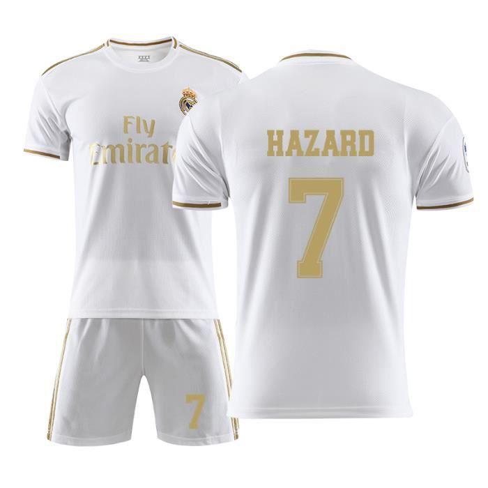 Real Madrid #7 Eden Hazard Maillot de Foot Football Soccer(maillot + shorts) Kit Suit 2019 - 2020 Pas Cher pour Homme