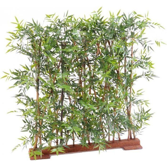 Plante artificielle haute gamme Spécial extérieur- Haie Bambou artificiel coloris vert - Dim : 90 x 45 x 120 cm
