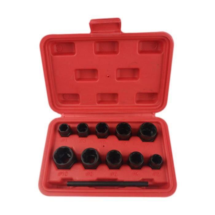 11 PCS / Set Extracteur de noix endommagé de solvant pour boulons cassés permettant de retirer facilement les COFFRET OUTILLAGE