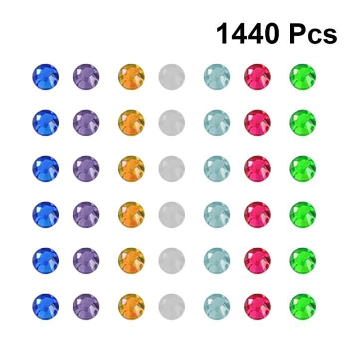 1440pcs Simple Nail Tips Glass Drill DIY Manicure Art Stickers Decals Decoration for Women Girls (Mixed Color, UV POUR ONGLES