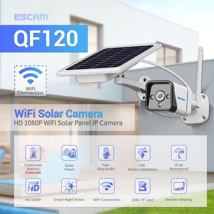 PRUMYA QF120 Caméra Surveillance 1080P WIFI PIR IP d'alarme avec panneau solaire couleur Vision nocturne Audio bidirectionnel IP66