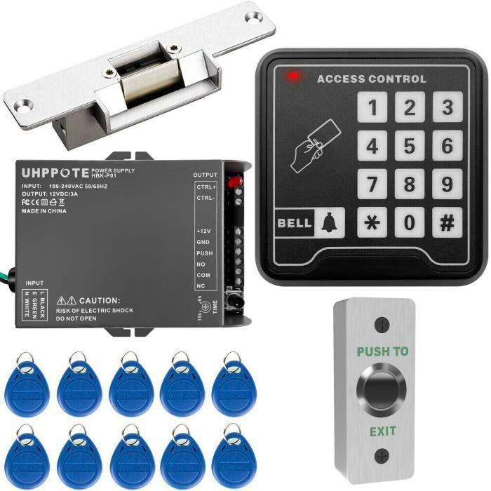 UHPPOTE Kit de système de contrôle d'accès Serrure électrique de gâche de clavier autonome RFID 125KHz