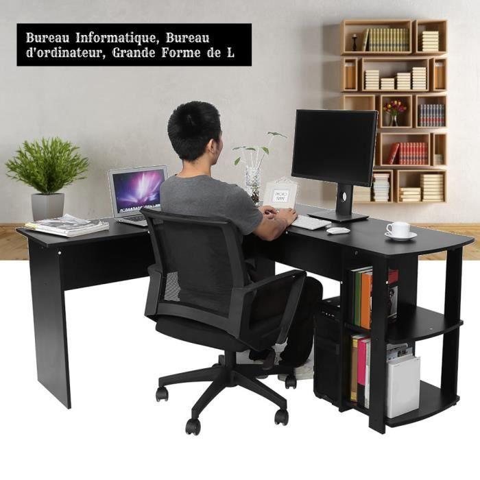 Table D'angle en forme L Économiseur d'espace avec étagères à livres Station de travail noir L02938