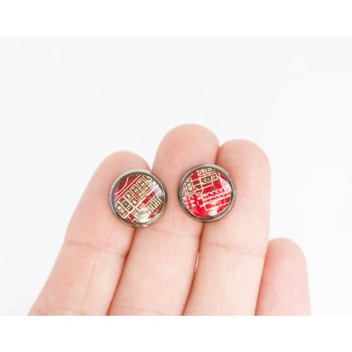 Womens Red Circuit Board Stud Earrings, 10mm CLRXC