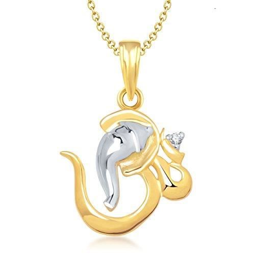 Womens Om Ganesha God Pendant With Chain For ,gold Plated In American Diamond Cz Jewellery Gp0128 DYU0V